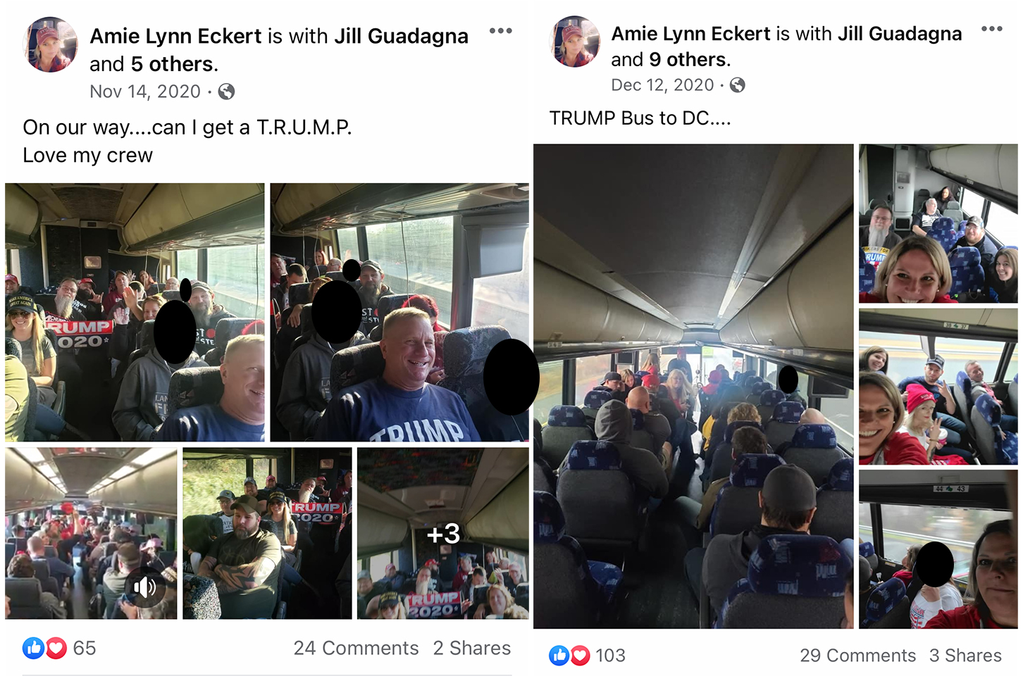 Two screencaps from Amie Eckert's Facebook page. Each is a series of images from the November 14th and December 12th bus charters to DC.