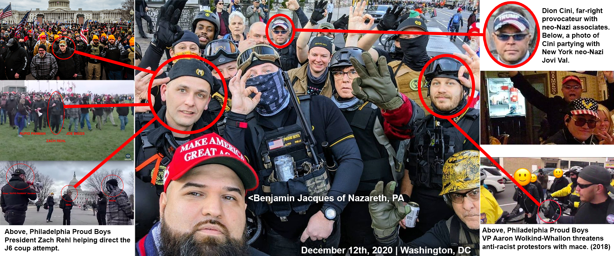 "In the middle, a selfie that Benjamin Jacques took at the December 12th ""Million MAGA Rally"" in DC. Surrounding this image are photos highlighting the fascist exploits of Zach Rehl, Dion Cini, and Aaron Wolkind-Whallon."