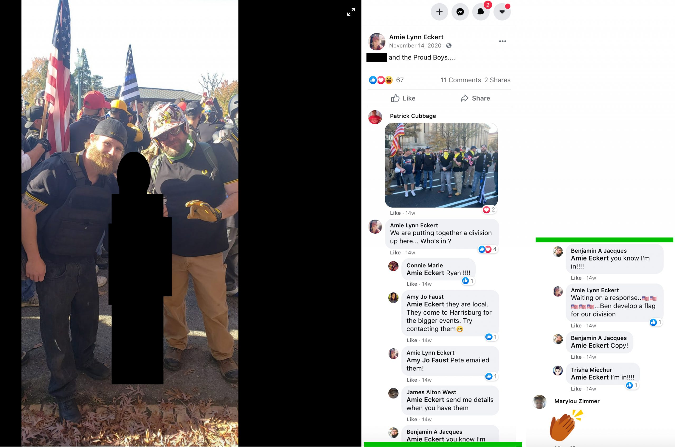 Screencap of Amie Eckert's Facebook post from November 14th, 2020. On the left, an image of Eckert's elementary-age child (blacked out for the child's privacy), posing with two Proud Boys in street fighting gear. On the right, comments in support of the Proud Boys.