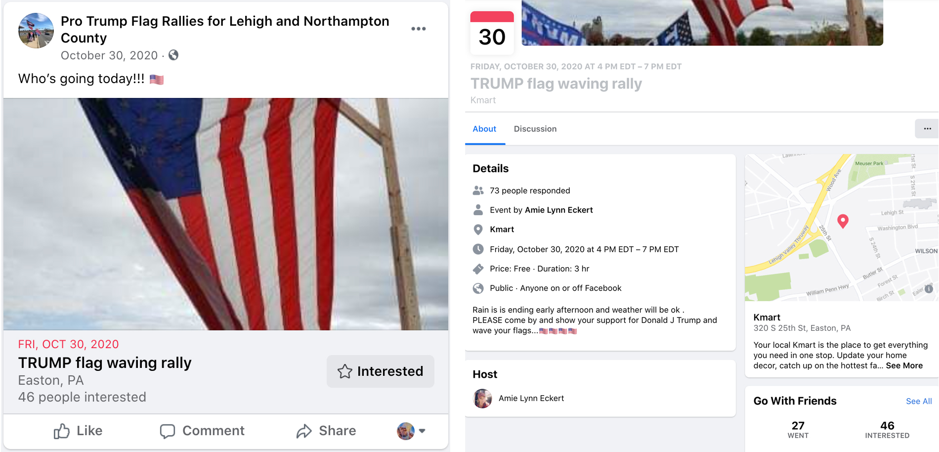 "On the left, a screencap of the ""Pro Trump Flag Rallies for Lehigh and Northampton County"" Facebook page promoting Amy Eckert's ""TRUMP flag waving rally"" event. On the right, a screencap of the event page. Listed as host of the event is Amy Eckert."