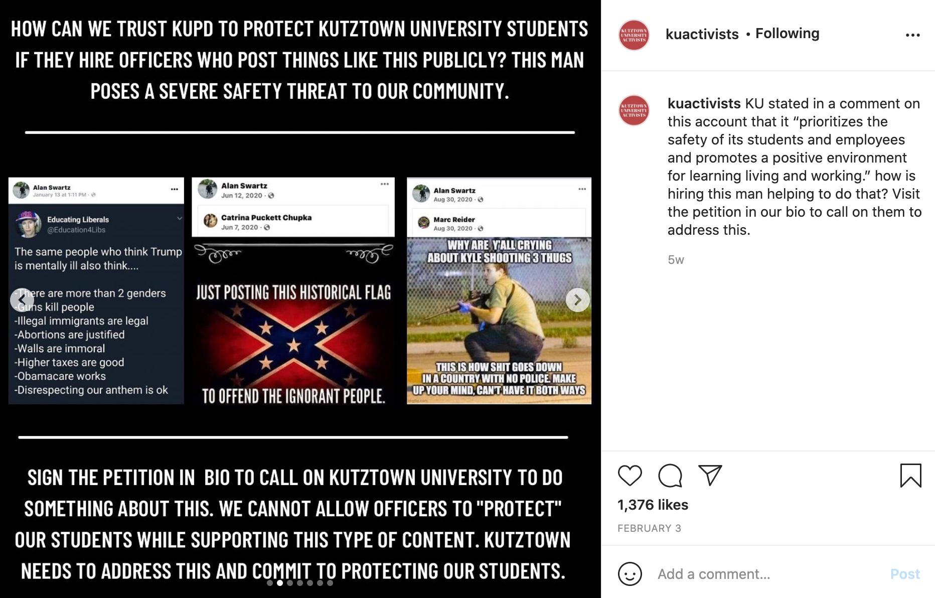 Screenshots of QAnon, Confederate, and far right militia propaganda shared by Swartz