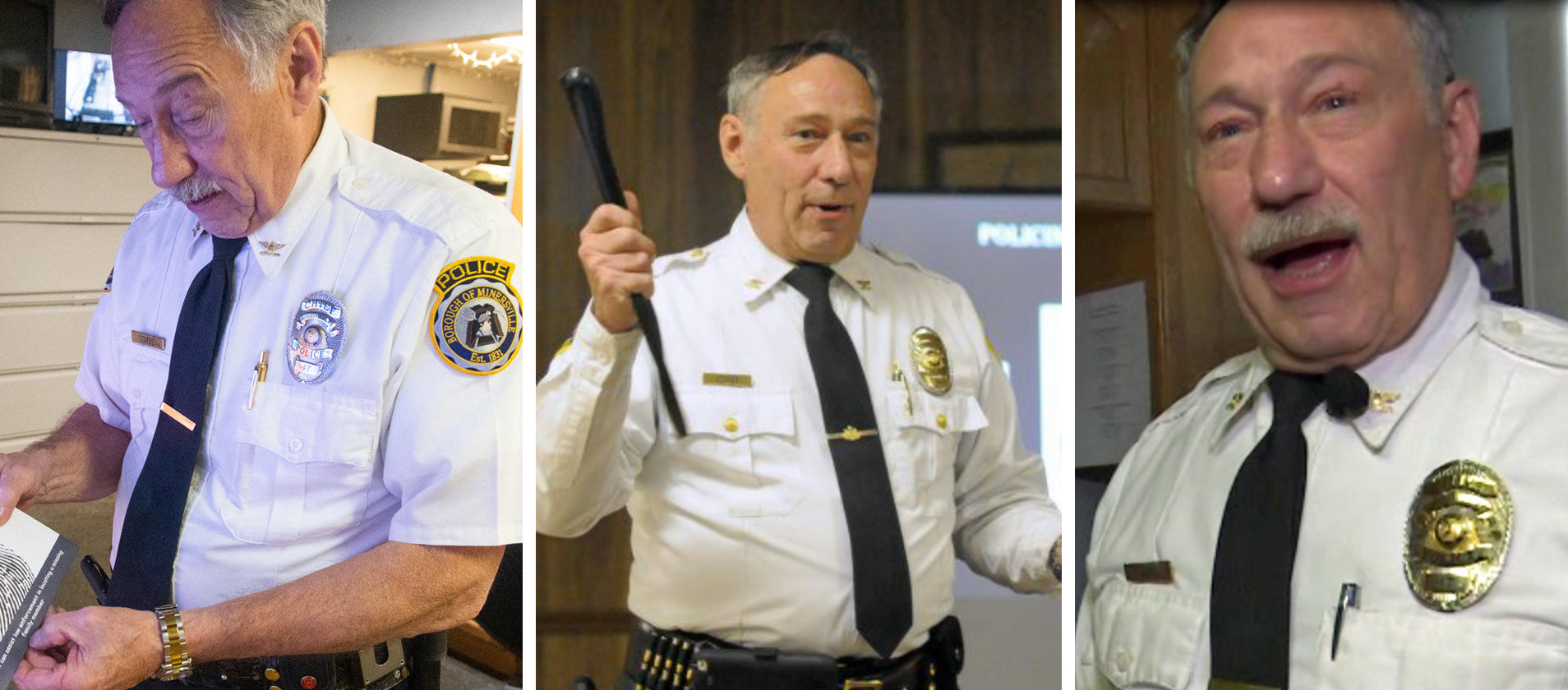 Three images of Michael Combs, Nazi Police Chief of the Minersville Police