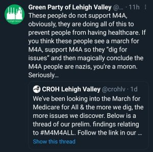 """GPLV: These people do not support M4A, obviously, they are doing all of this to prevent people from having healthcare. If you think these people see a march for M4A, support M4A so they """"dig for issues"""" and then magically conclude M4A people are nazis, you're a moron. Seriously."""